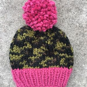 Handmade Camo and Pink Slouchy Knit Beanie